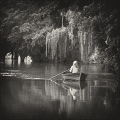Solitude (strussler) Tags: england girl canon river eos boat canal surrey rowing guildford farncombe navigation godalming waterway wey imagepoetry ef135f2l 5dmkii dontforgetneda