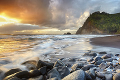 Pololu Morning #1b - Big Island Hawaii (PatrickSmithPhotography) Tags: ocean trees light sea sky seascape clouds sunrise landscape hawaii lava sand waves northshore valley bigisland kohala hawi pololu blacksandbeach kapaau makanikahio