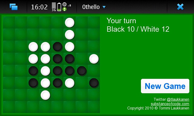Screenshot of Othello on my Nokia N900