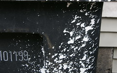 splatter (romana klee) Tags: urban white chicago abstract black alley paint number hydepark trashcan moment splatter spattering splotches camminante