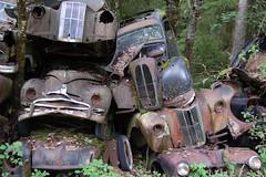 stacked cars (superbrezhnev) Tags: abandoned car yard junk rust decay bil disused scrap derelict heap abandonedcar fordprefect veteranbil fordpopular fordtaunus forlatt bilskrot carcemetary bstns bilopphuggeri