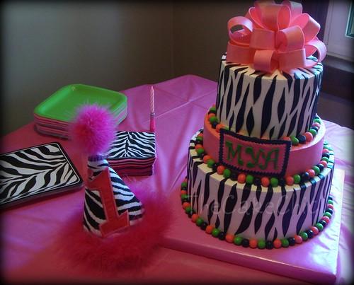 pink and white zebra cake. Hot Pink Zebra Cake