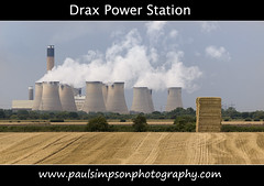 Drax Power station, UK (Paul Simpson Photography) Tags: uk trees chimney corn energy farm yorkshire steam haystack electricity hay powerplant powerstation haybale northyorkshire drax coolingtowers energyplant coalfiredpowerstation draxpowerstation cegb paulsimpsonphotography draxgroupplc