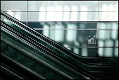 Reflection (Ulf Bodin) Tags: shadow reflection escalator uppsala greenish spegling rulltrappa noncoloursincolour canoneos5dmarkii canonef24mmf14liiusm fotosondag