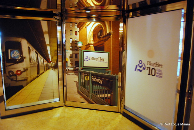 BlogHer '10 ads on the revolving doors at the Hilton New York