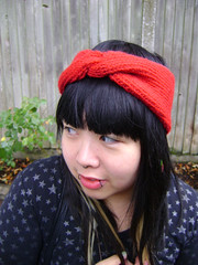 Madame Jojo (The Integer Club) Tags: red wool superwash jersey turban lining lined earwarmers knitknittingknittedcables