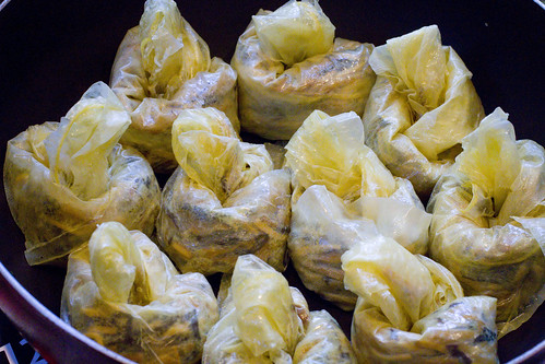 wrapped in bean curd sheets and knotted