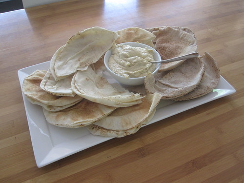 pita bread and hummus -- with bistro lunch