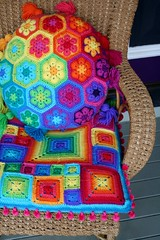 Babette-ish cushion no. 2 (rettgrayson) Tags: wool rainbow spectrum crochet cushion babette africanflower biggandesign