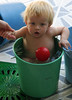 Playing with water buckets