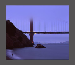 Jared at Kirby Cove (RZ68) Tags: sanfrancisco bridge blue sunset sun fog set night mediumformat golden kirby gate san francisco dusk cove foggy velvia goldengatebridge hour goldengate 6x7 provia ggb e100 rz68