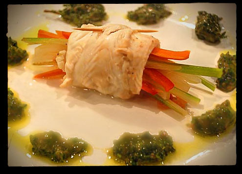 Plaice wrapped vegetables with Salsa Verde