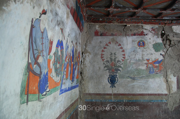 Ancient paintings in the 300 yr old ruined palace, Hunder, Nubra Valley