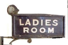 Midland Railway Platform Sign LADIES ROOM, white on blue enamel, overpainted cream on brown by the Western Region in the 1950s, double sided in wooden frame with bracket, 32x14 + bracket.  sign was used at Mangotsfield (blandford1969) Tags: station mangotsfield