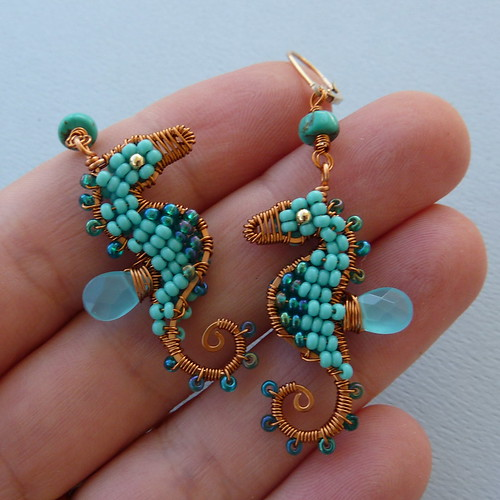 Tiny Turquoise Seahorse Earrings