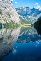 Obersee in Berchtesgaden National Park (chaojiwolf) Tags: sky cloud mountain lake mountains reflection clouds germany bayern deutschland bavaria berchtesgaden europe massif obersee knigssee bavarianalps watzmann kingslake berchtesgadennationalpark schnauamknigsee