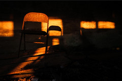 The Holy Chair (Universal Stopping Point) Tags: light sunset ohio barn evening chair warm shadows rusty covered poop xenia stark folding