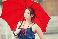 [フリー画像] 人物, 女性, 傘, フランス人, 201008181300