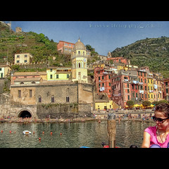 Vernazza (in eva vae) Tags: blue houses sea sky panorama seascape art church nature water colors watercolor painting landscape boats bay boat dock scenery eva italia mare blu framed liguria azure barche unesco canvas cape cinqueterre framing vernazza colori paesaggio bucato laspezia baia postprocessing promontorio 5terre porticciolo iitaly bagnanti estremità bellitalia inevavae