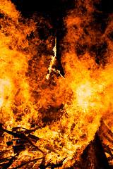 Frying V (On the mountain at dawn) Tags: mountain art festival fire 50mm dawn nikon guitar f14 flames burning bonfire flyingv d3000 flickraward