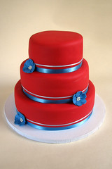 Red and Blue Wedding Cake. (Meghan's Cakes (on a cake break!)) Tags: blue wedding red flower cake ribbon