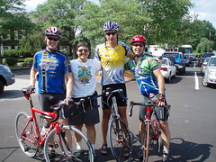 Jay, Lynda, Ornoth, and Paul pose for a group shot shortly after finishing the 93-mile Day 0 ride from the NY border.