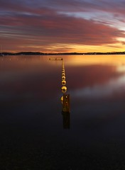 Calm (pominoz) Tags: belmont buoys buoyant buoyantspotlight lakemacquarienswsunsetlakecloudsreflectionwater