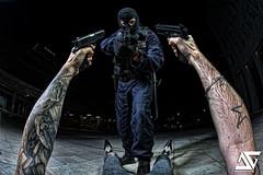 Give me your shoes !! (A.G. Photographe) Tags: fish france tattoo nikon gun cops police fisheye weapon cop nikkor busted flic franais hdr policeman anto tatouage policier xiii arme keuf sigsauer flingue gign tonfa 16mmfisheye strobist hdr1raw d700 gipn antoxiii