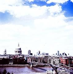 View from Tate Modern (dgrendon) Tags: travel london 120 film thames zeiss river xprocess view cathedral tate crossprocess stpauls slidefilm tatemodern 120film sights nettar zeissnettar milleniumbridgen
