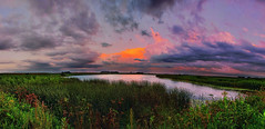After The Storm (-Chad Johnson) Tags: sunset panorama lake water minnesota clouds pond pano panoramic rochester hdr rochestermn byronmn hdrpano