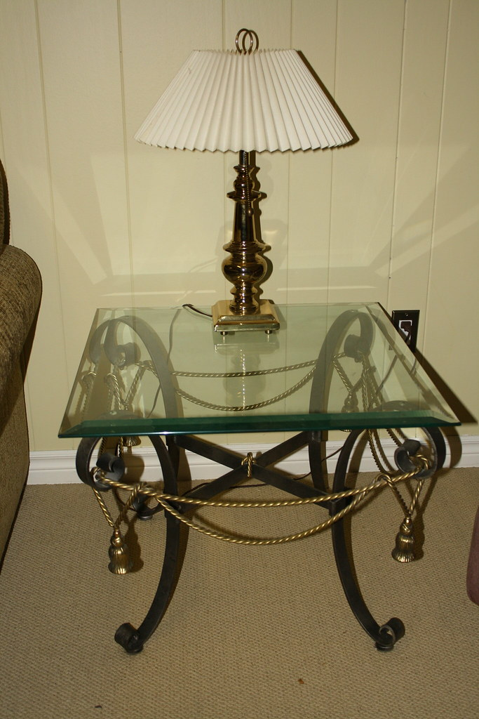 DeBoers Glass & Wrought Iron End Table x 2/Coffee table