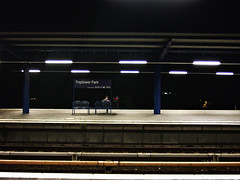 Sitting with hat [Night on Earth, Berlin...-Series] (lerone) Tags: berlin night germany lesen person track metro bank single mann solitary isle gleise dunkel nachts warten sitzen einzeln lerone