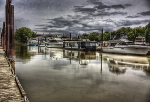 water boats cloudy stpaul hdr harrietisland photomatix tonemapping photoshopcs4 topazadjust