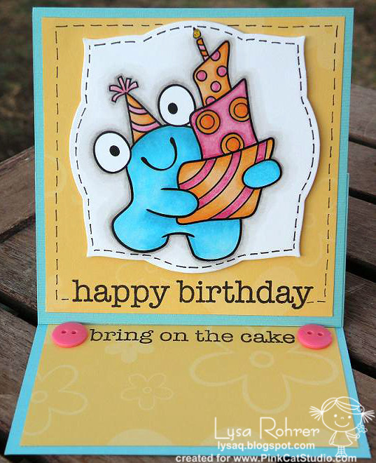 Blobby w/topsy turvy cake