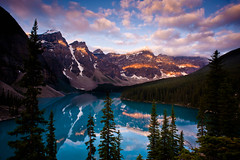 "Moraine Lake ""Patches of Light"" (Dan Ballard Photography) Tags: world favorite lake canada mountains reflection beautiful sunrise gallery best most banff portfolio wonderland cloudscapes banffnationalpark morainelake outdoorphotographer danballard bestofmywinners"