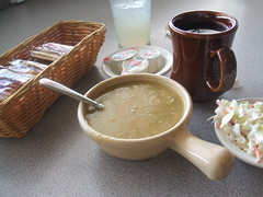 Soup, coffee, slaw, lemonade