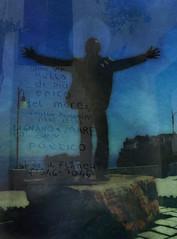 To Polignano (bluarancio85) Tags: costa photoshop italia mare bokeh dedica statua puglia vacanza cantante composizione polignanoamare aforisma domenicopmodugno
