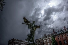 Lady of Hope in smokes [Explored] (leakylightbucket) Tags: sky art statue boston clouds canon evening massachusetts newengland bostoncommon hdr 40d sigma1020mmf35