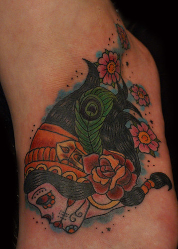 Old School Gipsy Skull and Flowers Tattoo. Paulo Madeira Tattoo Artist and