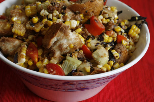 Cooking with Kids: Balsamic Tomato, Corn and Cucumber Panzanella Recipe