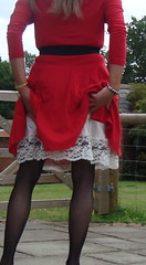 Plenty of lace to show (deborah summers2010) Tags: stockings dress skirt slip suspenders satin nylon slips