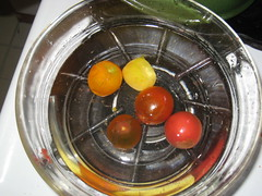 Tomatoes in cold water bath