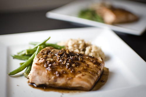 Mustard-Soy Glazed Salmon w/Brown Sugar and Ginger