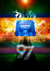 97 - Nintendo 64 Poster (solemone) Tags: sun game art clouds design colorful smoke nintendo retro bolt videogame 1997 lightning controller nineties 90s 97 n64 90s texteffect solemone
