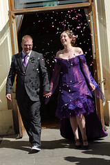 The confetti run... (roxalana72) Tags: converse chucks purpledress nonwhiteweddingdress