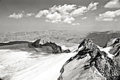 Fremont Glacier, Wind River Range, Rocky Mountains, Wyoming (Gerald L. Campbell) Tags: blackandwhite bw mountains landscape blackwhite tmax backpacking glaciers rockymountains wyoming landscapephotography olympusom2n scenicphotography bestcapturesaoi 28mmzuikolens 4tografie minoltamultiproscanner fremontglacier