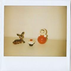 (Kristina) Tags: red polaroid toys doll image sweet deer cupcake spectra expired panpola