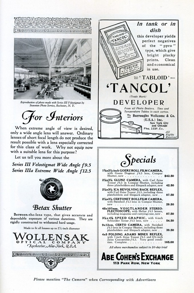 Wollensak Velostigmat wide angle lenses / Tabloid Tancol Developer / Abe Cohen's Camera Exchange Price list - 1926