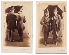 2 Gents and an Umbrella (MomentsBeingMe) Tags: uk england sepia umbrella vintage studio newcastle victorian bowtie gloves cdv cartedevisite oldphotograph edwardian gentlemen tophats