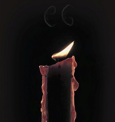Candle in the Wind (clarkcg photography) Tags: smoke candle red wax flame flicker light initial cg highlight aurora glow wednesdaymacro 7dwf